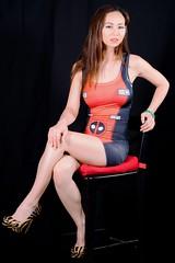 Cosplay Dress in Studio (Lexmax08) Tags: studio hair brown long shoes heels blackchair red cosplay dress short legs beautiful pretty sexy model female woman vietnamese asian