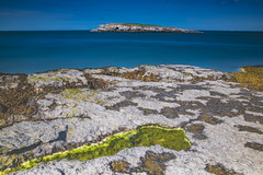 Moelfre Island (alan.dphotos) Tags: anglesea northwales sea shore rock boat sky cliffs guillemott cliff lobsterpot rope