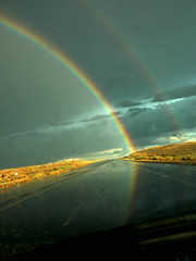 rainbow road (Mary Hockenbery (reddirtrose)) Tags: road light sky storm newmexico topf25 rain topv2222 golden rainbow topv555 topv333 topf75 pavement topv1111 topc50 topv999 roadtrip topf300 topv5555 50100fav topv777 topv3333 topv4444 topf100 topf250 topf200 topv6666 top20nm highway550
