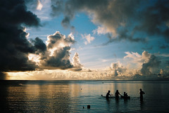 Island (Woodenship) Tags: sunset sky cloud film beach konica guam tumon hexar abigfave