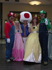 The Mario Brothers' Crew (Templarion) Tags: chris costumes costume nikon kevin indianapolis mario 2006 stephen toad gencon kelly luigi rosanne coolpix8700 princesspeach princessdaisy gencon2006