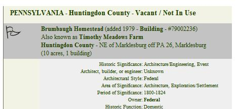 Historic Site Register - Brumbaugh Homestead