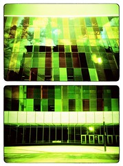Palais des Congrs (-Antoine-) Tags: canada green film topf25 analog 35mm lomo lca xpro crossprocessed diptych montral quebec montreal center vert qubec crossprocessing convention palais analogue diptyque greenish congres congrs palaisdescongrs crossproces antoinerouleau