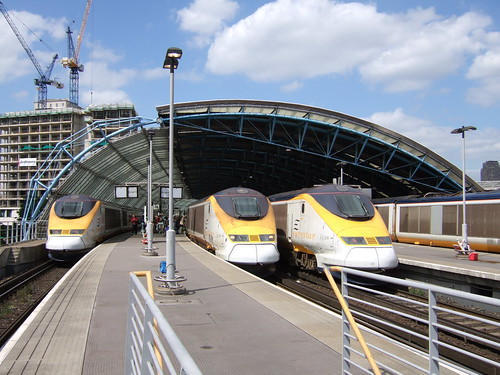 Eurostar trains at Waterloo International by Timothy E Baldwin.