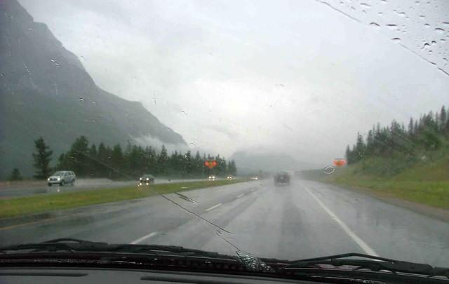 regen onderweg