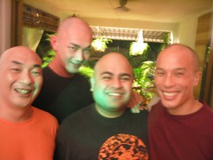 all the bald men in the house (myra m.) Tags: friends party male men four actors bald hairless baldmen castparty limyubeng kubhaer edwinsumun kaysiu
