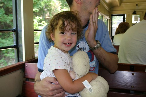 jocelyn with daddy on a train