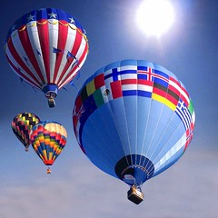 Balloon Race (Heaven`s Gate (John)) Tags: travel blue sky sun color topf25 beautiful wow balloons topf50 topf75 colours searchthebest dramatic aerial hotairballoons multicolor multicolour interestingness451 i500 outstandingshots flickrific johndalkin kakadoochoice heavensgatejohn p1f1 artlibre 123f50 aplusphoto irresistiblebeauty world100f