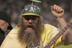 Cheerleader (prawnpie) Tags: beard oakland athletics texas baseball banjo cheerleader beanie rangers