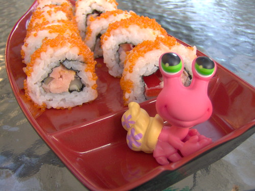 Oh no, my sushi is sailing away! by Sibi.