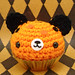 Amigurumi Halloween cupcake bear with pumpkin sprinkles