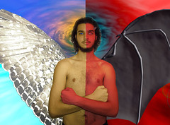 Duality (SimónAnibal) Tags: simón me yo topless angel demon demonio wings alas halo horn photoshopped photoshop