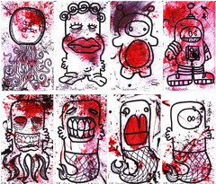 Business Card Group Scan (carlosr888) Tags: red black illustration drawing businesscards penandink facecrunch