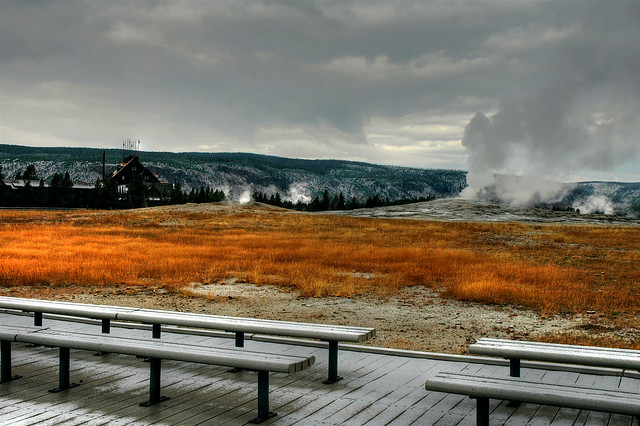 The Old Faithful Geyser, located in Yellowstone National Park,