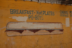 Po-Boys (pjchmiel) Tags: louisiana neworleans ramble coverup poboys handpaintedsign foodillustration greattypography greatillustration paintover
