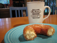 Half a Donut (Usonian) Tags: kitchen coffee table teal plate 2006 donut doughnut half mug fiestaware timhortons glazed utatainhalf