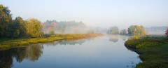 Mist on the Sudbury River (roddh) Tags: morning blue autumn mist reflection green fall water leaves yellow clouds river landscape nikon raw north d70s adobe sudbury acr luminous roddh nikonstunninggallery