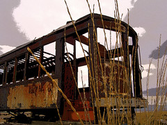 Forgotten (NekoPhoto.com) Tags: lake abandoned utah trolley great salt 2006 rusted guessed burned posterized ovfs