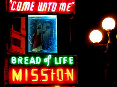 Shelter (Jan Tik) Tags: life seattle food sign bread washington neon jesus mission care shelter pioneersquare top20signs