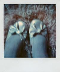 new shoes and a fuzzy rug (anniebee) Tags: polaroid sx70 fuzzy newshoes timezero polaroidsx70 silvershoes polaroidlandcamera