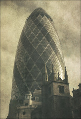 . Vintage Futurism - Part (a) . (3amfromkyoto) Tags: new old uk 2002 england building london tower church glass architecture modern vintage buildings swiss centre historic futurism re gherkin swissre 30stmaryaxe stmaryaxe standrewundershaft 3amfromkyoto 1532 470years flickr:user=3amfromkyoto