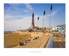 Evening glow (Parallax Corporation) Tags: blackpooltower promenade seascape besidetheseaside seawall seafront holidaymakers tourists evening goldenmile people streetlife streetphotography amusements bluesky
