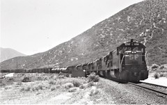 Southern Pacific U33C locomotive leading a freight train on Cajon Pass in 1977 9446 (Tangled Bank) Tags: old classic heritage vintage train railroad railway north american equipment southern pacific u33c locomotive leading freight cajon pass 1977 9446