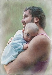 Father and Daughter (pdw's atelier) Tags: art artwork artist sketch pencil pen charcoal draw paint painting ink inked create innovate me original pdw adelaide baby infant daughter girl princess dad papa father portrait adult child parent