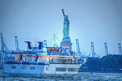 Give me your tired, your poor... (albyn.davis) Tags: nyc newyorkcity statue liberty monument usa boat water night light evening