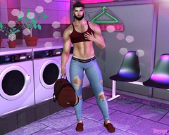 Oh No! My Shirt Has Shrunk (Bryan Trend) Tags: catwa daniel belleza jake stealthic hair bad unicorn bag handbag riot tanktop crop top jeans pants fameshed event dossier sneakers the men jail male model gay blogger blog sl second life new post