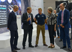 UK Prime Minister Theresa May visits the Space Zone at Farnborough Airshow 2018 (europeanspaceagency) Tags: esa europeanspaceagency space universe cosmos spacescience science spacetechnology tech technology fia18 fia2018 farnboroughinternationalairshow ukspaceagency spacezone theresamay primeministeroftheunitedkingdom farnborough farnboroughairshow timpeake janwörner