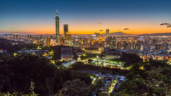 Up-to-date Taipei Skyline 晚妝燈火炤樓新 (Sharleen Chao) Tags: taipei101 taiwan skyline landscape skyscraper 台北101 台灣 風景 虎山 cityscape city canon canoneos5dmarkiii longexposure building clear 101 glow urban nightscene outdoor horizontal nopeople 1635mm afterglow 霞光 雲隙光 sunset 169 capitalcity taipei summer 夏天
