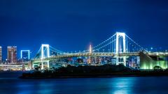 Bridges and Towers (TokyoInPics) Tags: minatoward odaiba rainbowbridge tokyotower night blue longexposure