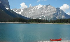 Wilderness ... (Mr. Happy Face - Peace :)) Tags: july summer canada rockies wilderness nature lake mountains snowcaps yyc art2018 red canoe