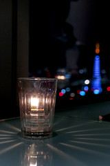 Blue Tokyo Tower and candle (sapphire_rouge) Tags: カレッタ汐留 東京 shiodome carettashiodome tokyo dinner 46thfloor skyscraper 46階 tokyotower