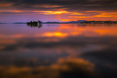 sunset 0882 (junjiaoyama) Tags: japan sunset sky light cloud weather landscape purple orange contrast color bright lake island water nature summer reflection calm dusk serene