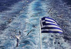 Following the Flag (lfeng1014) Tags: followingtheflag ferry cyclades aegeansea seajets waves seagulls bluewater highspeedseajets challenger2 ocean sea greece greekislandhopping greekisland mykonos flag skybluewhite αλανόλευκηorκυανόλευκη flagofgreece birds canon5dmarkiii ef2470mmf28liiusm ship travel lifeng escort