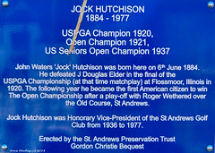 Scotland East Coast St Andrews wall sign famous USPGA golfer Jock Hutchison was born here 6th June 1884 picture 28 June 2018 by Anne MacKay (Anne MacKay images of interest & wonder) Tags: scotland east coast st andrews wall sign uspga golfer jock hutchison born here 6th june 1884 xs1 28 2018 picture by anne mackay