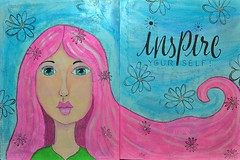 DSC_0001-Inspire Yourself Journal Pages-Main (Just4Crafters) Tags: art journal journaling acrylic watercolor mixed media pen decoupage whimsical girl pink blue green painting paint flowers stamping