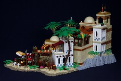 The Island of El Harraz (-LittleJohn) Tags: lego kaliphlin guilds of historica goh eurobricks medieval castle middle eastern setting market bazaar island landscape palace tower roof dome awning stall technique tree palm design wall pattern window