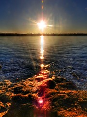 Looking at the sun (elphweb) Tags: hdr highdynamicrange nsw australia seaside sea ocean water rock rocks rockformation