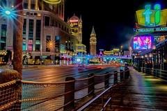 On the other boardwalk (tquist24) Tags: hdr hff lasvegas lasvegasstrip nevada nikon nikond5300 thevenetian treasureislandhotel boardwalk city cityscape desert fence geotagged lighttrails lights longexposure sidewalk street traffic unitedstates
