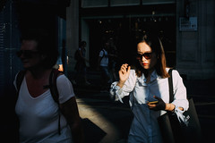 Afternoon Sun (markfly1) Tags: london argyll street soho district last afternoon light sun sunny sunglasses woman walking black glasses shades elderly bra showing funny moment candid d750 nikon 35mm manual focus lens