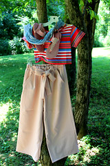 IMG_0987 (sally_byler) Tags: fashion style womens clothing clothes capri pants striped top shirt scarf sandals ohio summer spring pink blush stripes sky blue cul culottes