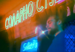 solar (Coughh_Syrup) Tags: neon sign man smoking double exposure film digital blue red night lights city urban portrait