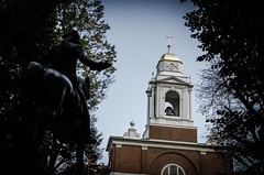 """""""One if by land, two if by sea"""" (Rabican7) Tags: boston rebel revolutionist downtown historic war colors statue heroism revolution massachusetts building church architecture streetphotography horse rider midnightride paulrevere oneifbylandtwoifbysea newengland"""