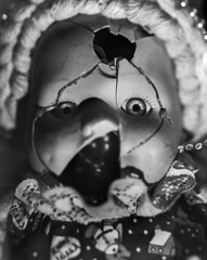 Wanna Play? (Blurmageddon) Tags: largeformat 4x5 lithfilm aristaortholitho30 osakafieldcamera osaka120mmf63 tachihara film filmphotography epsonv700 creepydoll brokenface blackandwhite dektol filmdev:recipe=11895