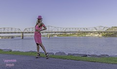 Rosie - beautiful with a view. (gregoryscottclarke photography) Tags: rosanneneddo museumofcanadianhistory pink black blue boat stone stairs pathway summer hat