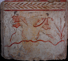 """Painted slab of tomb with """"Duel"""" (about 350 BC) - Archaeological Museum of Paestum (Carlo Raso) Tags: paintedslab tomb duel archaeologicalmuseum paestum"""