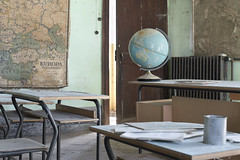La Scuola di Mappe (Jonnie Lynn Lace) Tags: abandoned italy italia italian trip travel europe european euro school scuola maps globe desk chairs education learn teal red yellow white green decay derelict detail details design texture textures depth dof door nikkor nikon d750 50mm digital interior indoors old rural rurex classic beautiful peelingpaint perspective history historic memories time papers shadows light bright exploration explore explorer urbex